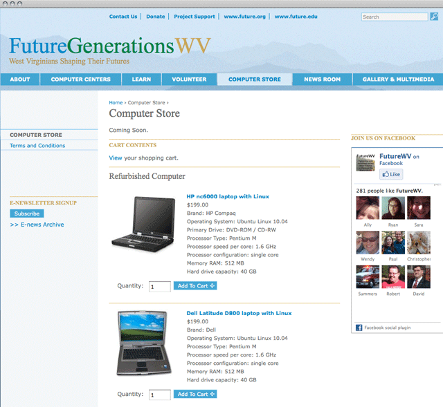 Future West Virginia e-commerce detail
