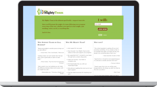 My Mighty Team Landing Page
